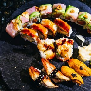 Bam Bam sushi roll, Rock and Roll sushi roll, unagi and uni sushis