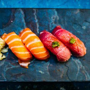 Fatty salmon & blue fin nigiri sushi