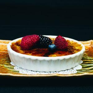 Green tea cream brulee dessert